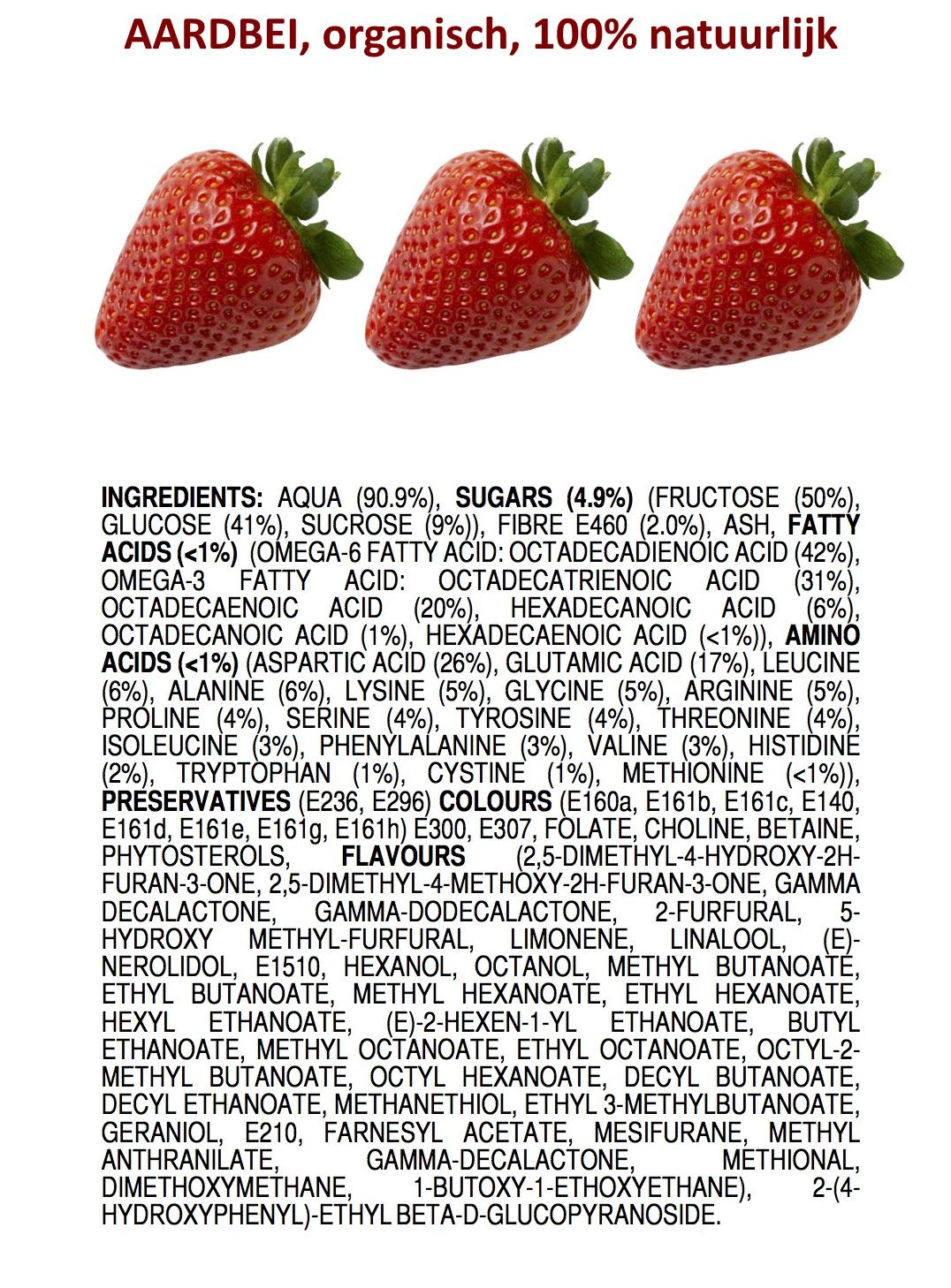 De ingrediënten van een aardbei