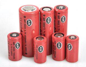 Diverse maten Li Ion batterijen